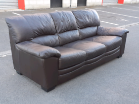 Brown Leather 3 Seater Sofa 👍very good condition 👍