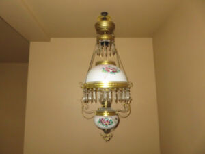 Hanging  1890's oil lamps