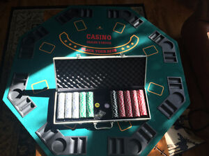 Poker table top with poker chips and case