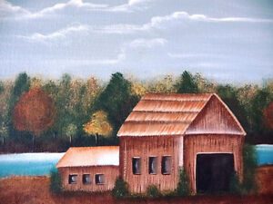 "Original Folk Art Oil Painting ""Autumn Farmland by the River"" Stratford Kitchener Area image 3"