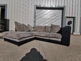Grey & Black fabric Corner sofa couch suite 🚚