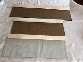 3 Glass shelves with metal brackets