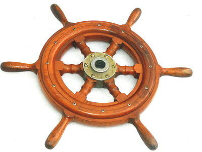VINTAGE WOODEN SIX SPOKES SHIP BOAT YACHT STEERING WHEEL WITH BRASS FITTINGS