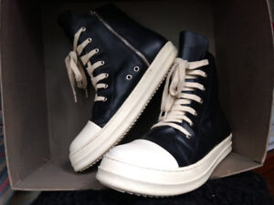 $250-Rick Owens(size-11)Blk leather geobasket hitop sneakers