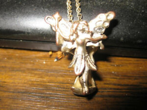 Very old gold & silver tone angel pendant,