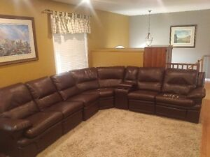 large leather-like (vinyl) sectional recliner couch, dark brown