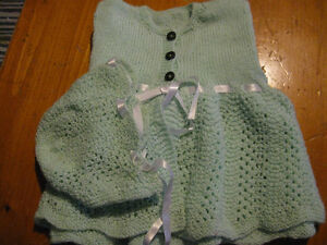 Hand Made Teal Baby Sweater & Hat