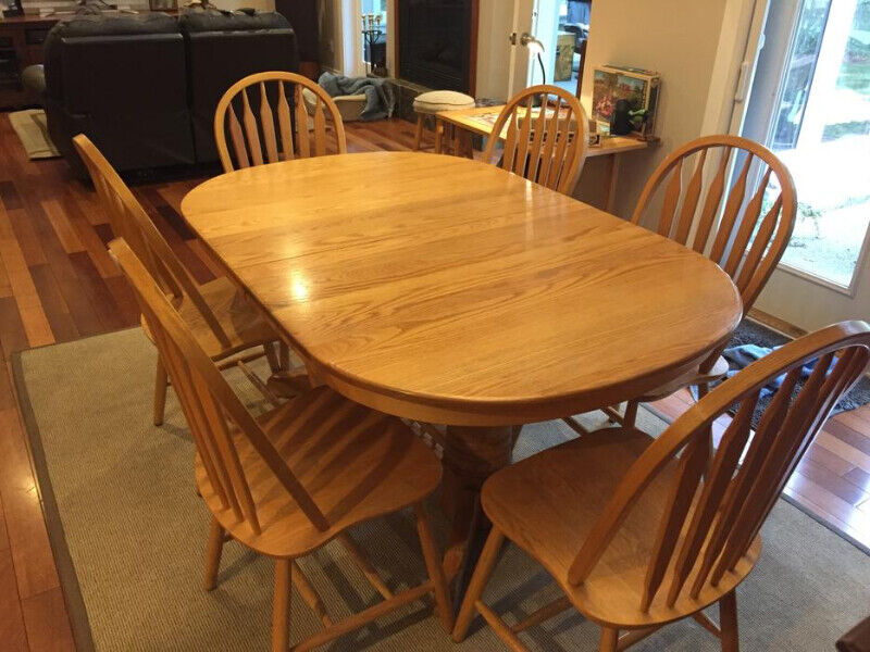 Solid oak kitchen table with 6 chairs | Dining Tables ...