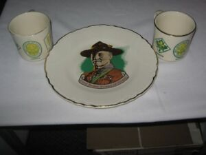 LORD BADEN POWELL CANADA SCOUT PLATE AND SCOUT MUGS.LOT of 3