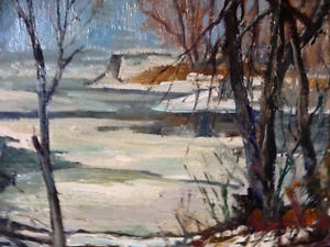 """Original Oil Painting, H. Oswald Stacey  OCA """"January Thaw"""" 1945 Stratford Kitchener Area image 2"""