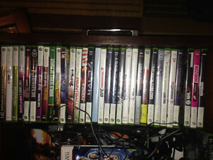 Xbox 360 w/ About 40 Games + 3 Controllers + RB Guitar and Drums St. John's Newfoundland image 1