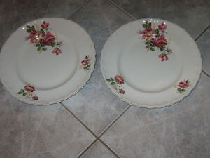 TWO BEAUTIFUL OLD WOODS IVORY WARE 10-INCH PLATES