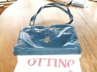 Pure italian leather navy blue purse