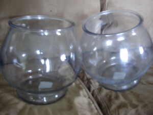 two large fish bowls