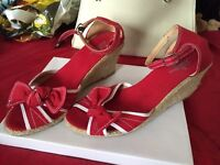 Size 6 red wedge sandal