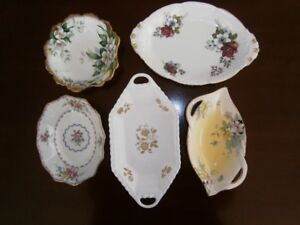 FIVE PRETTY CHINA CANDY DISHES