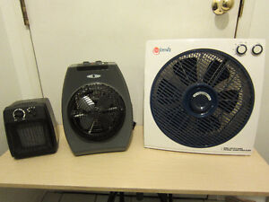 Two heaters with adjustable thermostat and one large fan