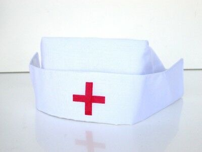 ADULT WOMENS WHITE NURSE COSTUME HAT CAP WITH RED CROSS DOCTOR HOSPITAL  - White Costume
