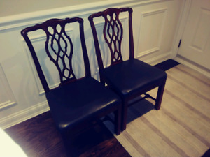 2 Antique Wooden Chairs with Leather Seating