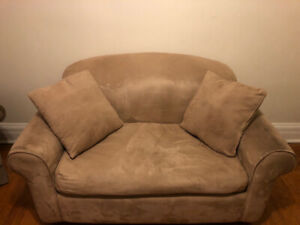 Small Couch, Comfortably Seats 2 With Pullout Single Mattress