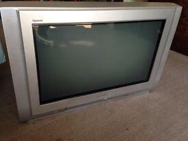 "Panasonic Quintrix 28"" TV + glass stand"