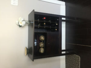 Buffet Table & Wine holder ! (dark wood , perfect entry piece !)