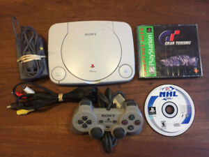 sony ps one slim (ps1 slim) console bundle with great games!