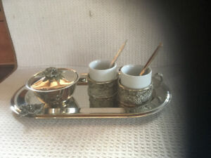 9 piece Cappucino Set Silver Plated