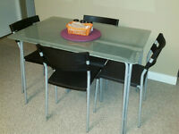 Frosted Glass Table 4 Chairs, $65 OBO. Excellent condition