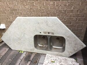 Granite counter top with double sink. $20.