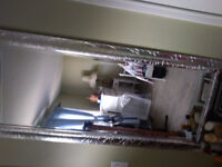 Beautiful silver brand new mirror and table with drawer and fold
