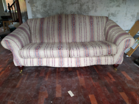 White and striped 3 seater sofa