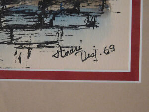 Watercolour on Ink Painting from 1969 Signed by Andre Desj Kitchener / Waterloo Kitchener Area image 3