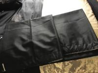Pair of black lined curtains