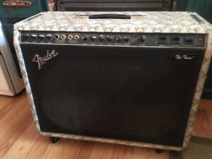 Fender twin amp with original snakeskin wrap around cover