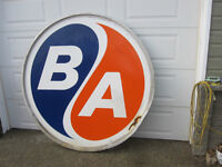 large B/A Oil Gas Station Sign - original with frame