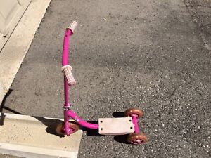 Pink three (3) wheel scooter for girls