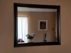 LG Walnut Framed Mirror in Beautiful Condition - Rare Find