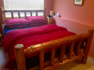Queen Log Bed with 2 Log Night Stands