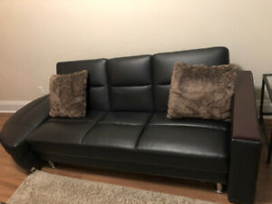 Perfect Condition Leather Couch/Sofa Bed/ Sectional