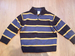 Gymboree Boys Zip Up Sweater - Size 3, Navy & Yellow Stripes