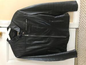 Women's Leather Motorcycle Jacket, Medium
