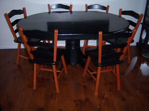 Single Pedestal Black Dining Table with 6 chairs