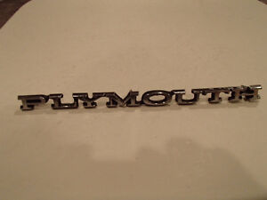 Used PLYMOUTH Script Emblem 1968-81 Grill/Hood/Trunk lid/ Rear B