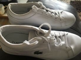 Brand new Lacoste white leather trainers 100% genuine unisex size 3/3.5