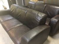 X2 large 3 seater leather sofas