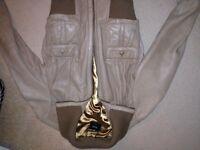 Leather bomber style jacket