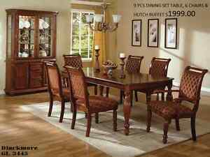 9 PCS DINING SUITE (TABLE+6 CHAIRS+HUTCH BUFFET)