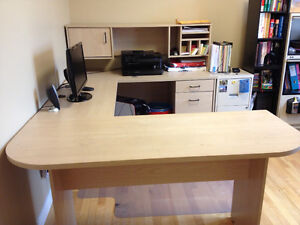 OFFICE DESK U-SHAPE WITH HUTCH / FILING CABINET