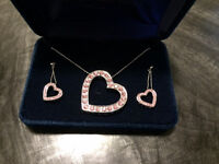 Heart necklace and earrings set from Montana silversmith $80.00